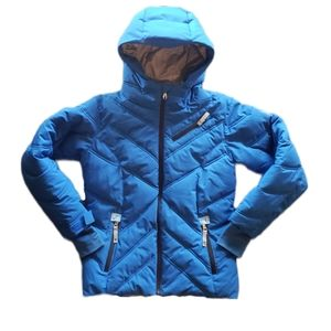 10 Girls, Blue Puffer Jacket with Hood - Quality Warm Winter Coat for Girls